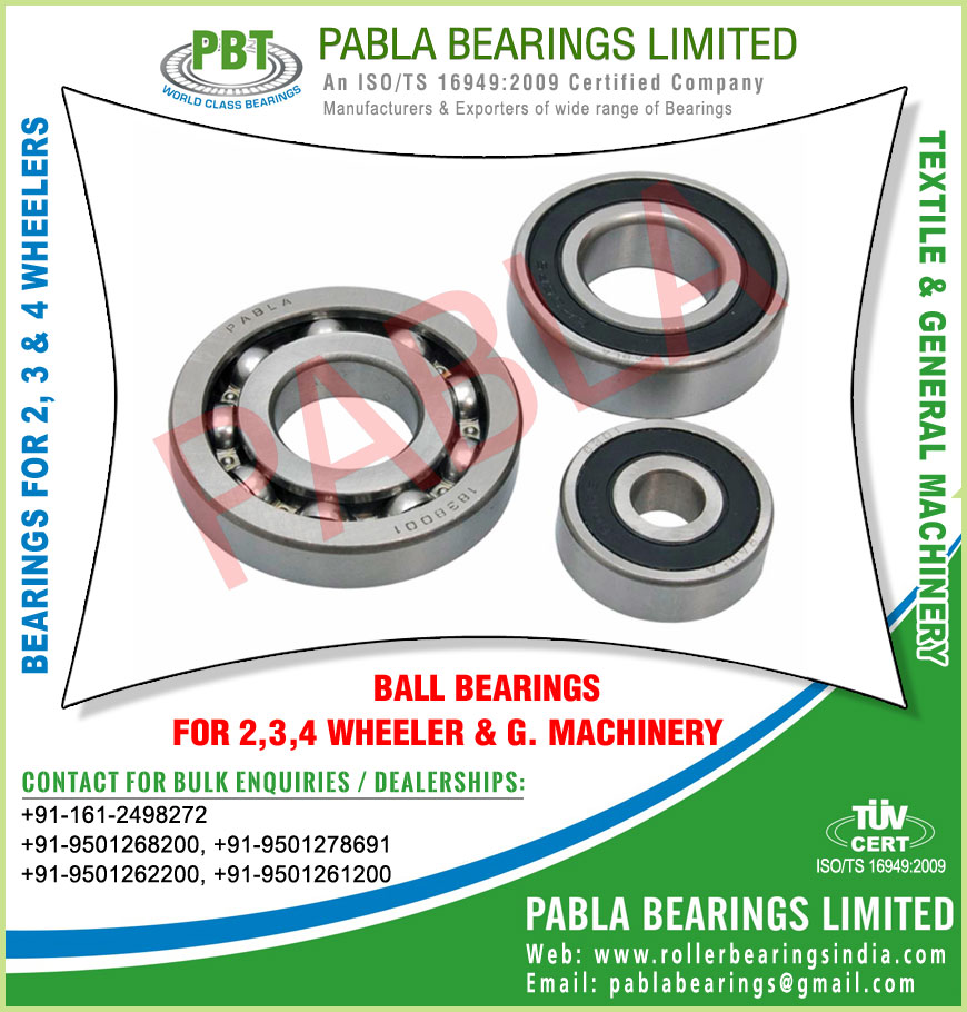ball bearings automobile bearings needle roller bearings manufacturers exporters sellers supplies in India Punjab Ludhiana