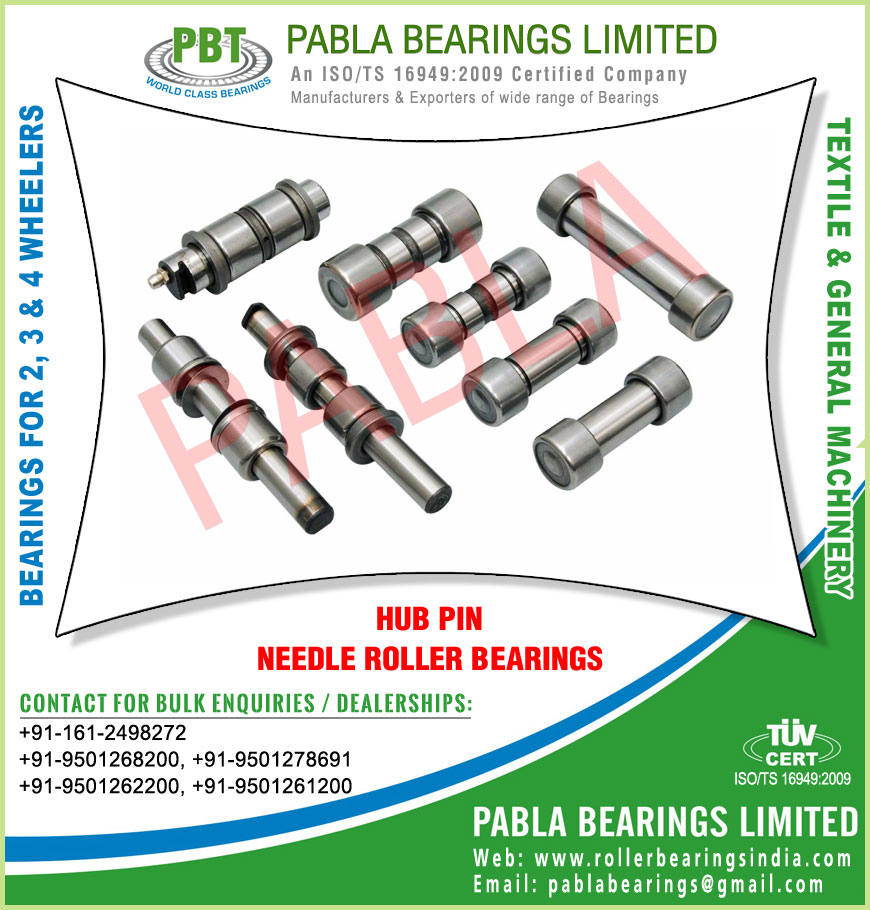 hub pins with bearings needle roller bearings manufacturers exporters sellers supplies in India Punjab Ludhiana