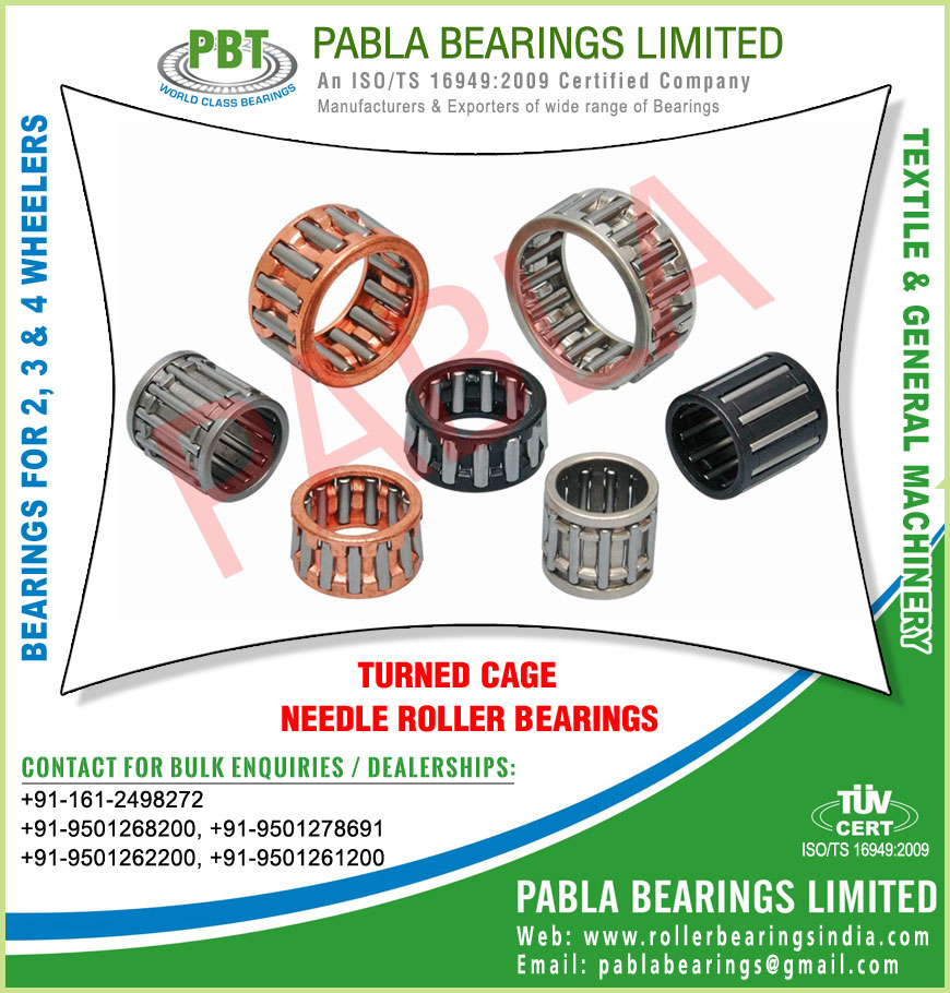 cage bearings turned cage needle roller bearings manufacturers exporters sellers supplies in India Punjab Ludhiana