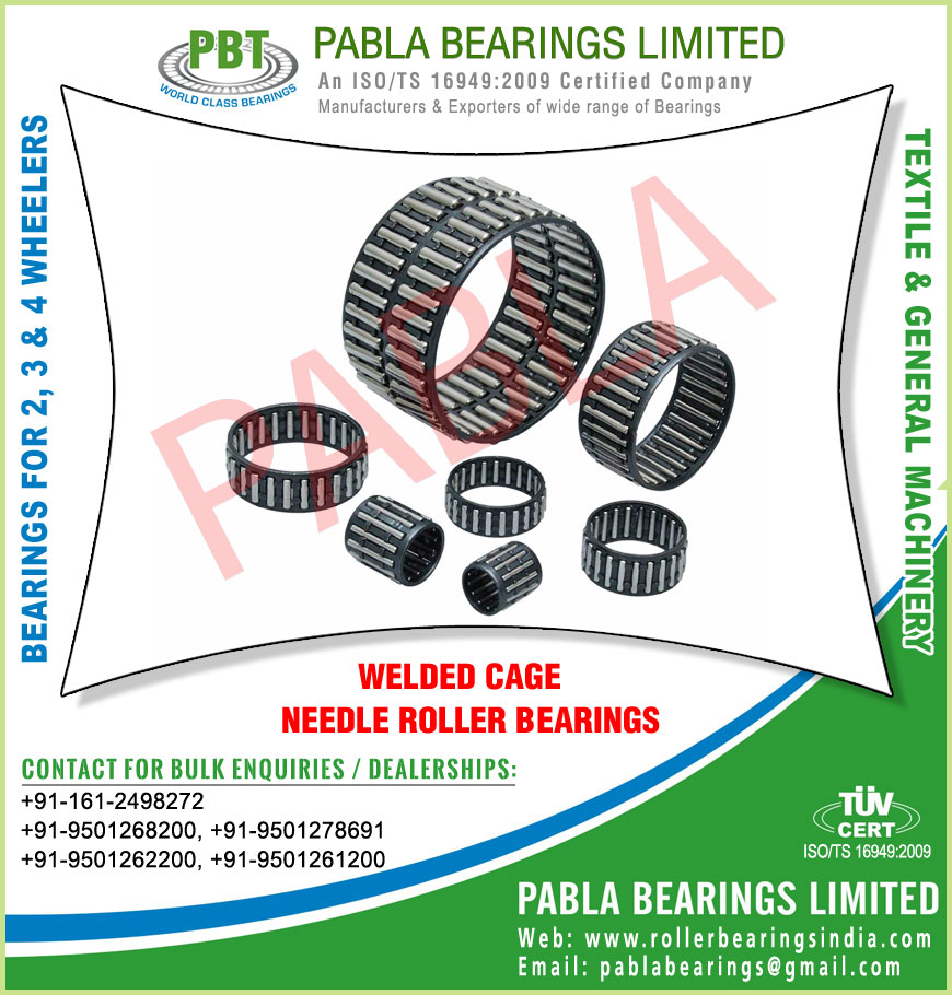cage bearings welded cage needle roller bearings manufacturers exporters sellers supplies in India Punjab Ludhiana